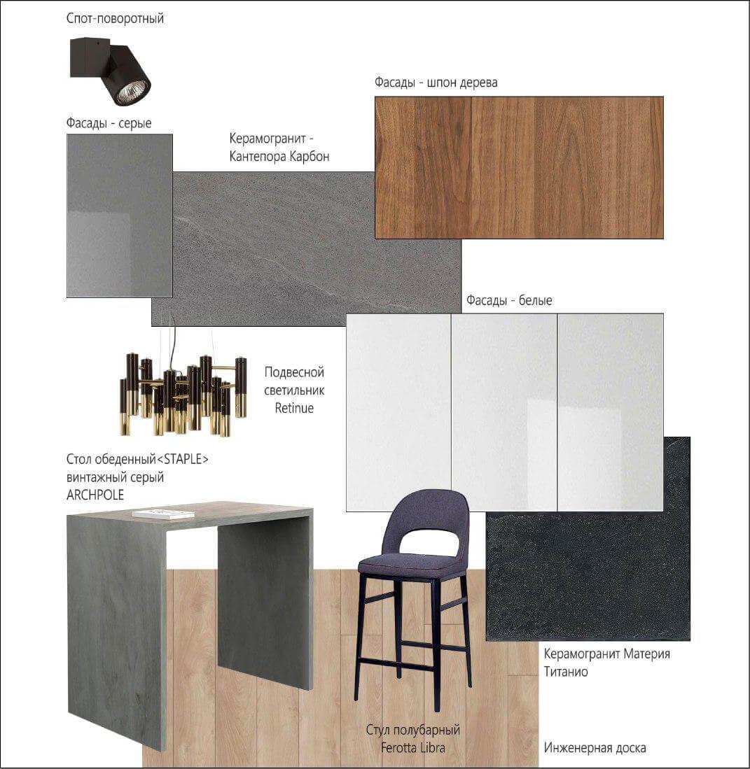 Коллаж из материалов и мебели - Студия дизайна интерьера в Москве