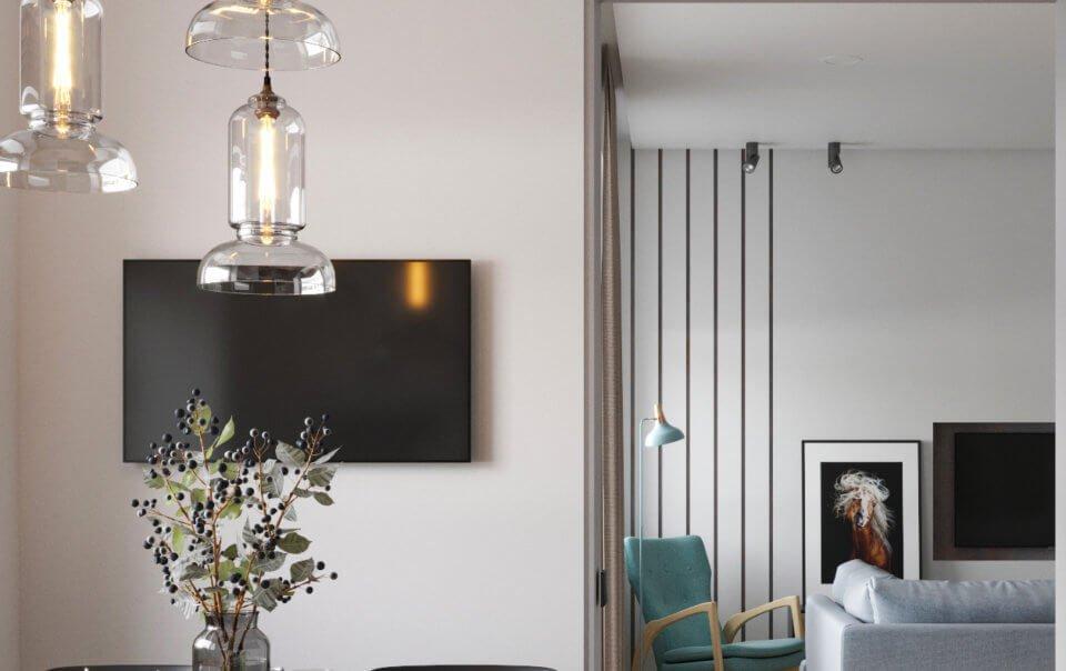 Студия в квартире на Юбилейной - Разработка дизайна интерьера на заказ