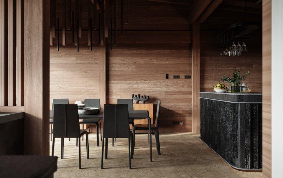 Столовая в доме на берегу Волги - Заказать дизайн проект интерьера в студии