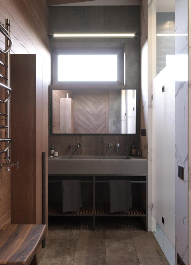 Ванная комната в интерьере одноэтажного дома